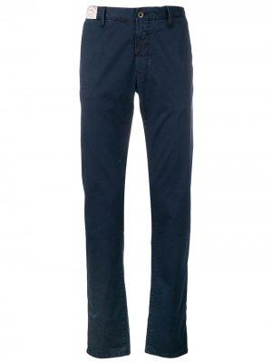 Классические брюки чинос Incotex. Цвет: синий