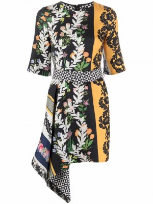Платье асимметричного кроя с цветочным принтом Oscar de la Renta. Цвет: черный