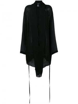 Платье асимметричного кроя с драпировками Ann Demeulemeester. Цвет: черный
