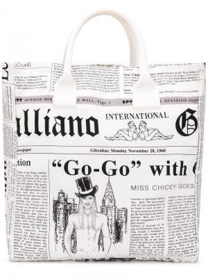 Сумка-тоут с газетным принтом John Galliano Vintage. Цвет: белый