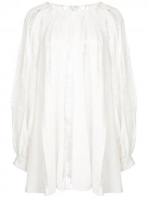 Полупрозрачная кружевная блузка в полоску Oscar de la Renta. Цвет: белый