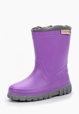Резиновые сапоги ZeBra. Цвет: фиолетовый