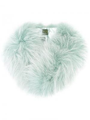 Воротник из меха енота Mr & Mrs Italy. Цвет: зелёный
