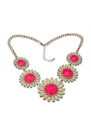 Ожерелье Розовые ромашки Victoria Le Land. Цвет: бордовый
