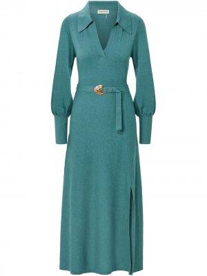 Платье миди Katya с поясом Nicholas. Цвет: синий