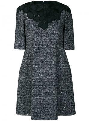 Декорированное твидовое платье Talbot Runhof. Цвет: синий