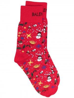 Носки с принтом Christmas Balenciaga. Цвет: красный