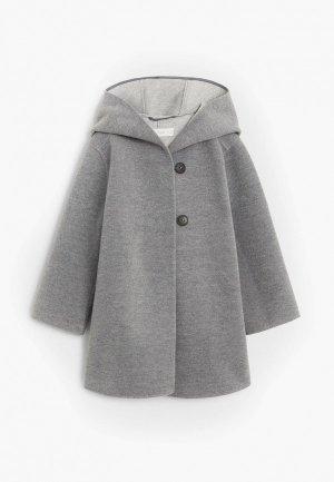 Пальто Mango Kids. Цвет: серый