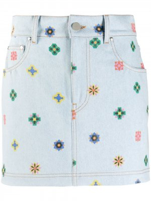 Джинсовая юбка с цветочным принтом Kirin. Цвет: синий