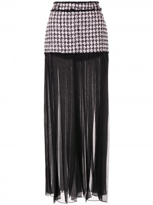 Прозрачная плиссированная юбка со вставкой в ломаную клетку Balmain. Цвет: розовый