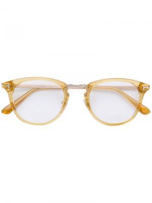 Очки в круглой оправе Tom Ford Eyewear. Цвет: желтый