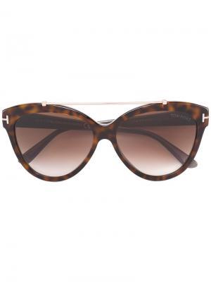 Солнцезащитные очки с оправой кошачий глаз Tom Ford Eyewear. Цвет: коричневый