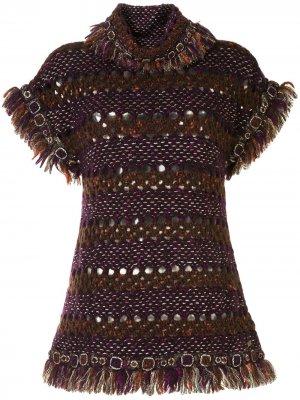 Вязаное платье с зеркальным декором Chanel Pre-Owned. Цвет: фиолетовый