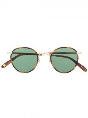 Солнцезащитные очки Wilson в круглой оправе Garrett Leight. Цвет: коричневый