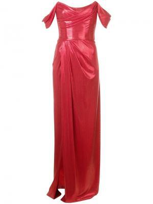 Long strapless dress Marchesa Notte. Цвет: красный