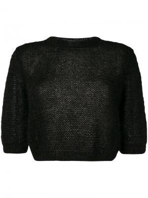 Укороченный трикотажный свитер Marios. Цвет: черный