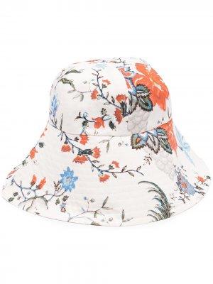 Шляпа с цветочным принтом Erdem. Цвет: нейтральные цвета