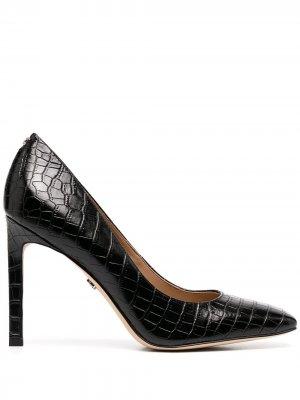 Туфли с тиснением под кожу крокодила и квадратным носком Sam Edelman. Цвет: черный