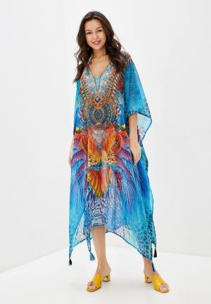 Платье пляжное Indiano Natural. Цвет: синий