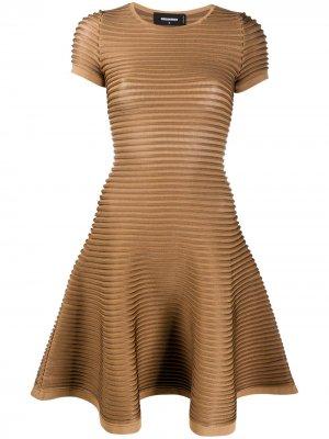 Короткое платье с отделкой в рубчик Dsquared2. Цвет: коричневый