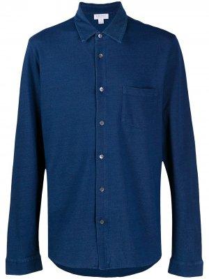 Рубашка из джерси Sunspel. Цвет: синий