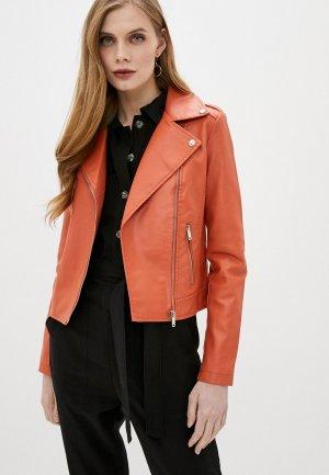 Куртка кожаная Softy. Цвет: коралловый
