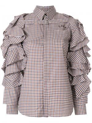 Рубашка в клетку с оборками Facetasm. Цвет: коричневый