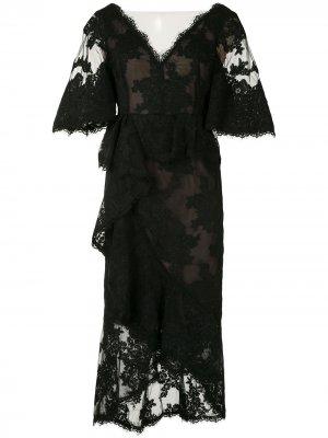 Кружевное коктейльное платье Marchesa. Цвет: черный