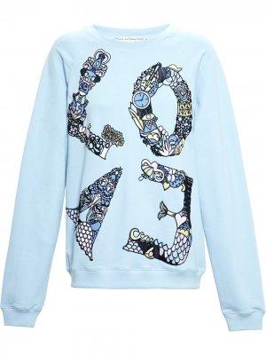 Love embroidered sweatshirt Mary Katrantzou. Цвет: синий