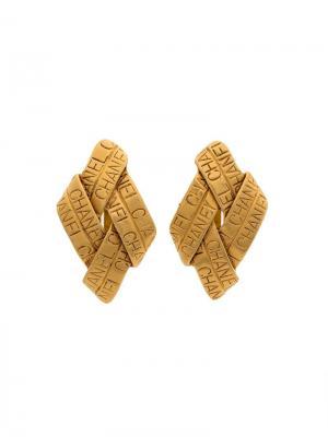 Плетенные серьги с логотипом Chanel Vintage. Цвет: металлик