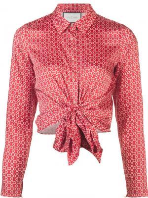 Рубашка с принтом и завязкой спереди Alexis. Цвет: красный