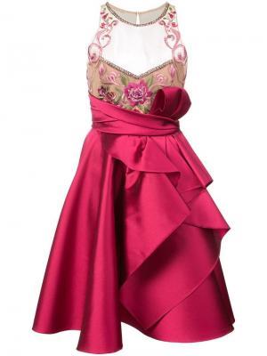Платье с вышивкой и оборками Marchesa Notte. Цвет: красный