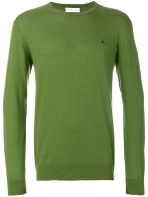 Вязаный свитер с длинными рукавами Etro. Цвет: зеленый