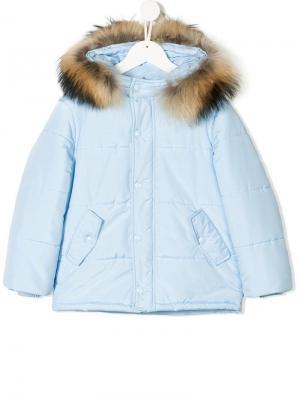 Дутое пальто с капюшоном Bimbalo. Цвет: синий