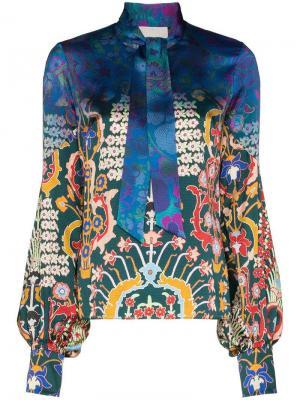 Блузка с цветочным принтом и завязками Peter Pilotto. Цвет: голубой/emerald