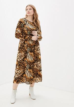 Платье Zizzi. Цвет: коричневый