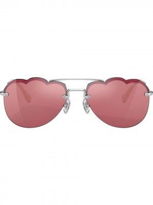 Солнцезащитные очки-авиаторы Cloud Miu Eyewear. Цвет: розовый