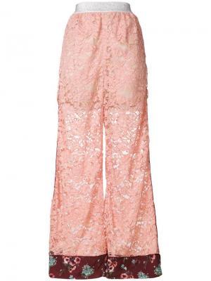 Кружевные брюки-палаццо I'M Isola Marras. Цвет: розовый