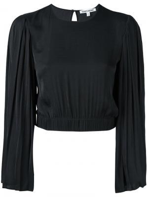 Укороченная блузка с плиссированными рукавами Elizabeth And James. Цвет: черный