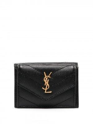 Компактный бумажник с монограммой Saint Laurent. Цвет: черный