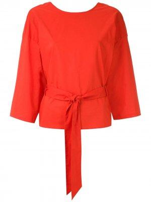 Блузка с запахом и поясом Andrea Marques. Цвет: оранжевый