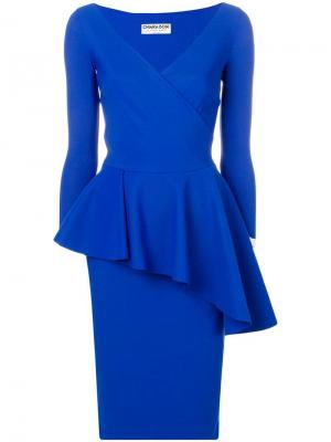 Платье с баской Le Petite Robe Di Chiara Boni. Цвет: синий