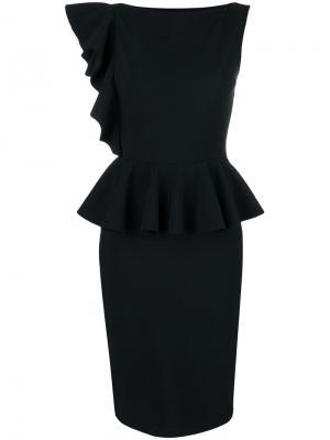 Приталенное платье с баской Dinara Chiara Boni La Petite Robe. Цвет: черный