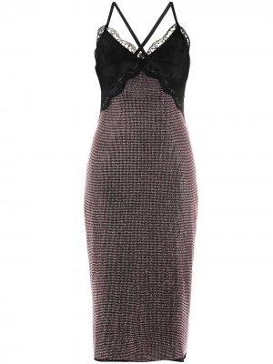 Сетчатое платье миди с кристаллами Christopher Kane. Цвет: черный