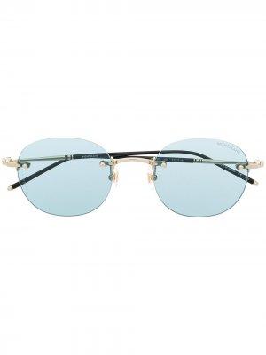 Солнцезащитные очки без оправы Montblanc. Цвет: синий