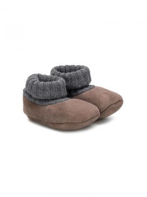 Пинетки с деталью в виде носка Pèpè. Цвет: коричневый