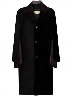Пальто со вставками из искусственной кожи Marni. Цвет: черный