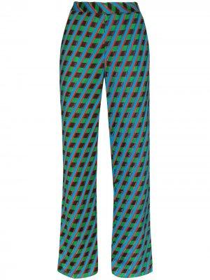 Широкие брюки Samba с принтом Wales Bonner. Цвет: синий