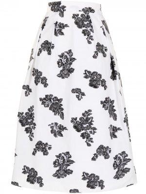 Юбка миди Reed с цветочным принтом Erdem. Цвет: белый