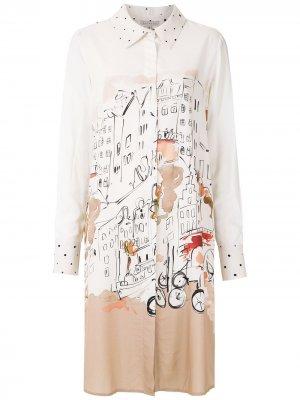 Платье-рубашка с принтом Alcaçuz. Цвет: белый
